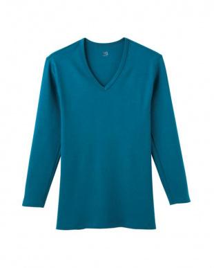 ブルーグリーン Vネック9ブソデシャツ×3セットを見る