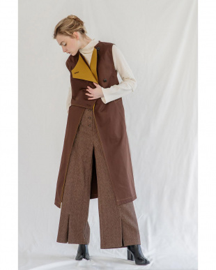 BROWN BI-COLOR TRENCH GILETを見る