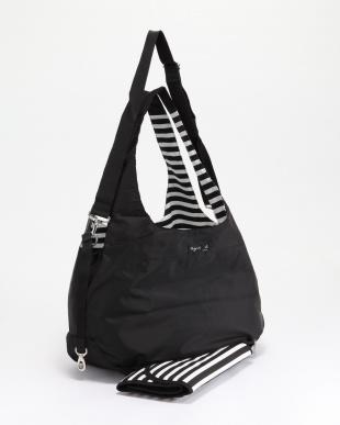 ブラック J008 MOTHER'S BAG ボーダーマザーズバッグ[リバーシブル バッグインバッグ おむつ替えシート付き]を見る
