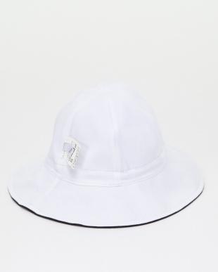ホワイト J000 L CHAPEAU ベビー  ホワイト×ブラック リバーシブルハット[UVカット]を見る