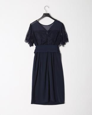 BLACK レース切替トップタイトワンピースドレスを見る