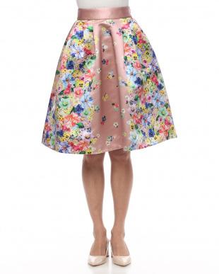 Pink プリントサテンスカートを見る