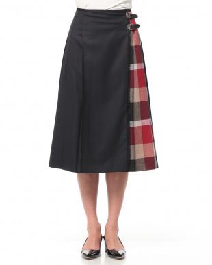 ネイビーA CBチェックドライウェザーパーシャルスカートを見る