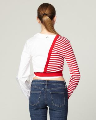 RED×WHITE  ニット×シャツ カシュクールTOPSを見る