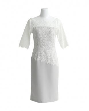 ホワイト/アッシュ スクエアネックレースドレスを見る