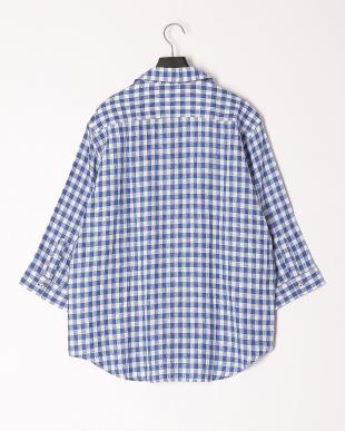 ブルー クレストブリッジチェックシールドワッペンプルオーバーシャツを見る