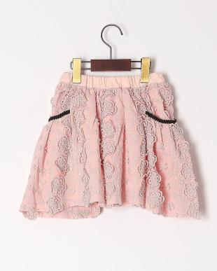 ピンク ハナレースギャザースカートを見る