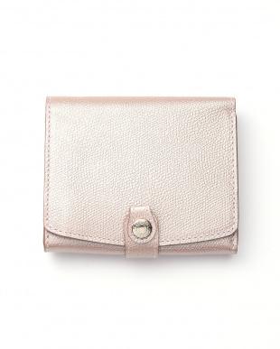 シャンパン 角シボ型押し・メタリックレザー・二つ折りミニ財布を見る