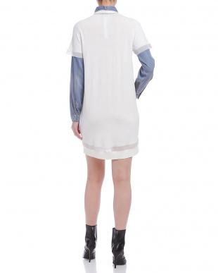 ホワイト レイヤード風デザイン 異素材コンビ ドレスを見る
