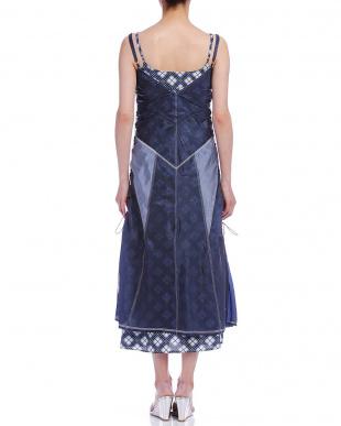 ネイビー インナー付 ノースリーブ  レイヤード ドレスを見る