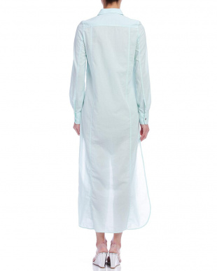 ライトブルー サイドスリット シャツドレスを見る