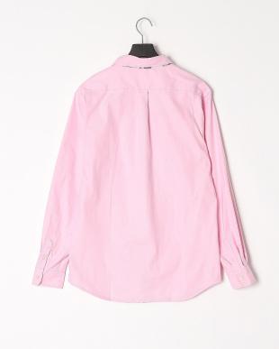ピンク ストレッチオックスパイピング長袖シャツを見る