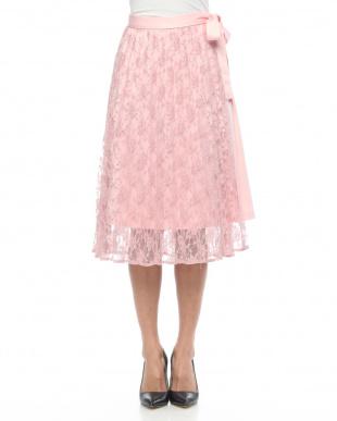 12/赤系C(ピンク) レースプリーツラップスカートを見る