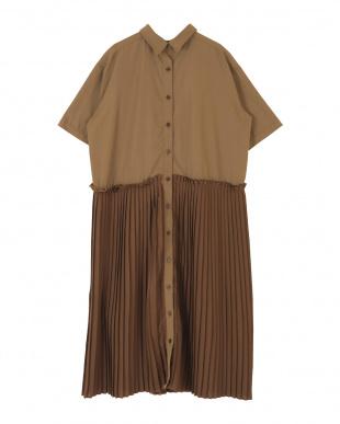 ブラウン プリーツドッキングシャツワンピースを見る