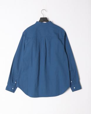 ブルー デニムバンドカラーシャツを見る