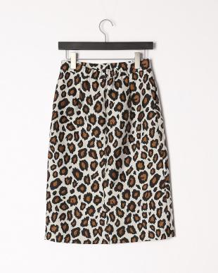 柄大 レオパード柄ジャガードタイトスカートを見る