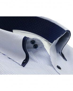 ブルー系 形態安定 ノーアイロン 長袖ワイシャツ フィットインナー プリーツ マイター ドゥエボットーニ ボタンダウン 白×ブルーストライプ スリムを見る
