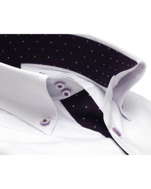 パープル系 形態安定 ノーアイロン 長袖ワイシャツ メッシュインナー ドゥエボットーニ ボタンダウン 白×パープル刺子調柄、ストライプ織柄 スリムを見る