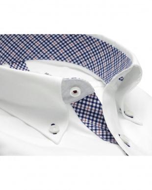 ホワイト系 形態安定 ノーアイロン 長袖ワイシャツ フィットインナー ボタンダウン 白×ストライプ織柄 スリムを見る