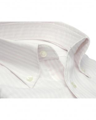 ピンク系 形態安定 ノーアイロン 長袖ワイシャツ Wガーゼ ボタンダウン 綿100% 白×ピンクストライプ スリムを見る