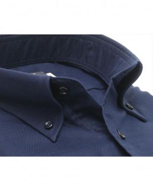 ブルー系 形態安定 ノーアイロン 長袖ワイシャツ Wガーゼ ボタンダウン 綿100% ネイビー×無地調 標準体を見る