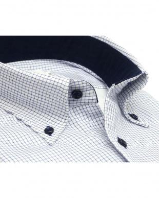 ブルー系 形態安定 ノーアイロン 長袖ワイシャツ Wガーゼ ボタンダウン 綿100% 白×ブルーチェック スリムを見る