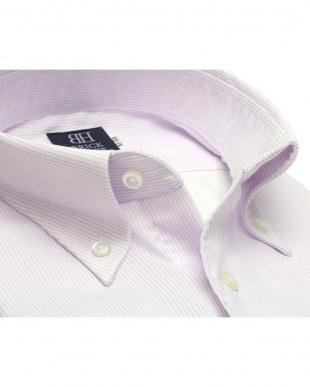 パープル系 形態安定 ノーアイロン 長袖ワイシャツ Wガーゼ ボタンダウン 綿100% 白×パープルストライプ 標準体を見る