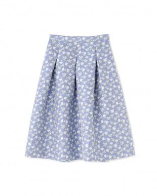 ブルー フラワージャカードスカート NATURAL BEAUTYを見る