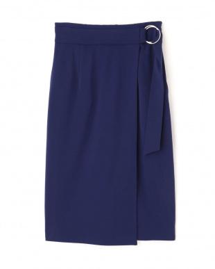 ブルー [ウォッシャブル]裏起毛ポンチラップスカート PINKY & DIANNEを見る