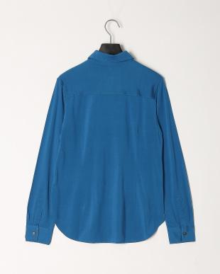 ブルー シルクコットンジャージーシャツを見る