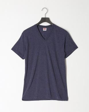 ネイビー 天竺VネックTシャツ 吸水速乾 ソフト 2点セットを見る
