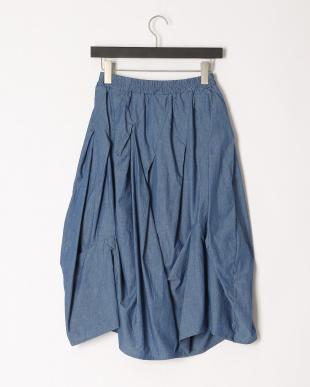 ブルー 花アップリケスカートを見る