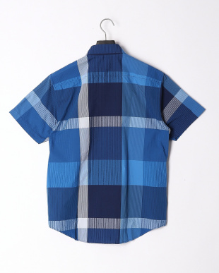 ブルー ビッグスケールシアサッカークレストブリッジチェックハーフスリーブシャツを見る