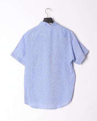 ブルー リネンクレストブリッジチェックポケットハーフスリーブシャツを見る