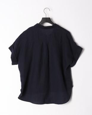 ネイビー フレンチリネンスキッパーカラーシャツを見る