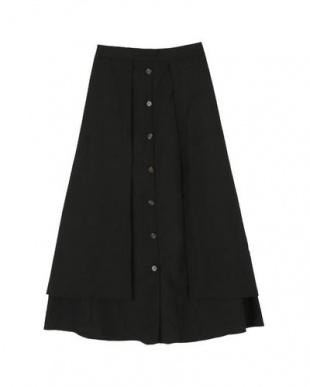 ブラック フロントボタンフェイクラップロングスカートを見る