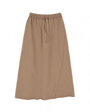 ブラウン 裏毛カットオフロングスカートを見る