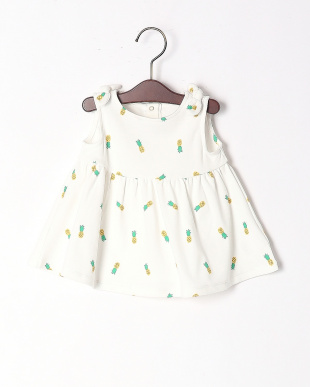 オフホワイト  PINEAPPLES PRINT DRESS W/DIAPER COVERを見る