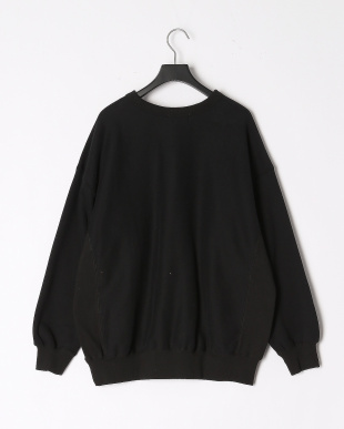BLACK FLOCK PRINT CREW NECK TOPを見る