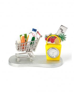 シルバー/イエロー ショッピングカート 買い物かご ミニチュアクロックを見る