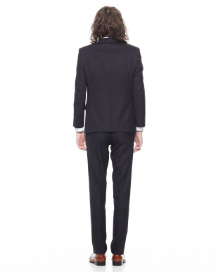 ネイビー シャドーストライプ ノッチドラペル 2パンツ スーツを見る