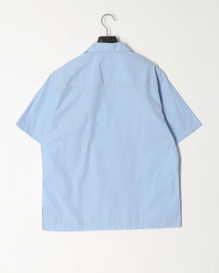 ネイビー シルク混オープンカラーシャツを見る