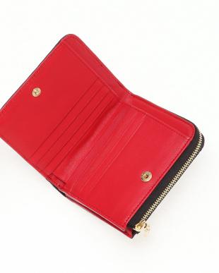 ブラック/レッド クロコダイル本革二つ折り財布を見る