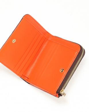 Dブラウン/オレンジ クロコダイル本革二つ折り財布を見る