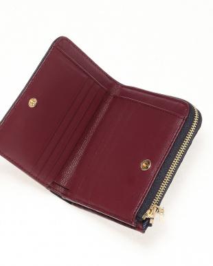 ネイビー/ワイン クロコダイル本革二つ折り財布を見る