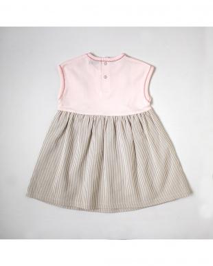 ベビーピンク Hoppetta ジャンパースカート着てる風ワンピースを見る