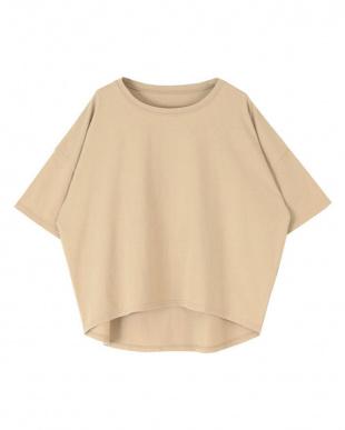 ベージュ コットンカットソーオーバーサイズTシャツを見る