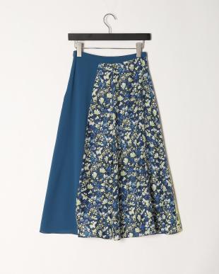 ブルー  ラップ風スカートを見る