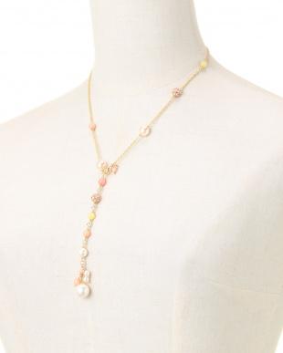 ホワイト/ピンク/ゴールド 貝パールXコーラル Yスタイルネックレスを見る