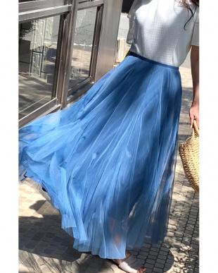 ブルー チュールフレアースカートを見る